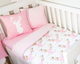 Floral pink deer nursery items