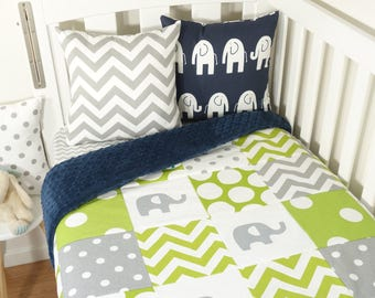 Patchwork quilt nursery set - Lime, navy and grey elephants, spots and chevron (Navy minky quilt backing)