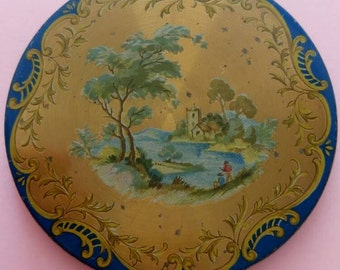 Vintage Compact powder mirror painting decorated 1940's