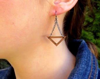 Geometric Earrings, Wood Dangle Earrings, Wood Triangle Earrings, Chandelier Earrings