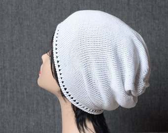 White beanie slouchy holes hat stylish woman beanie hat white knit hat girlfriend gift street style boho accessories womens hat gift for her