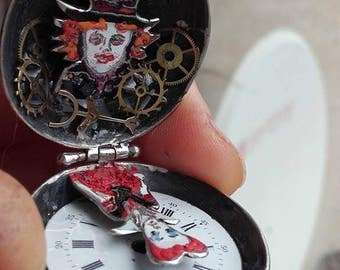 Alice in wonderland,mad Hatter and red Queen sterling silver 925,OOAK unique handmade pendant