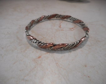 Vintage Copper and Silver-Tone Twisted Bangle Bracelet Made in Mexico