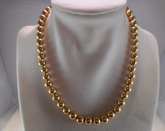 Vintage Gold Beaded Necklace ,Shiny Gold Tone 7mm  Bead Necklace 18 inch