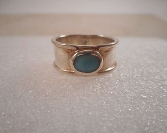 Vintage Sterling Silver Cigar Band with Oval Turquoise Size 7 1/2