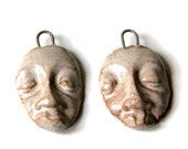 Rustic faces - A pair of ceramic dangles / drops / pendants - handmade jewelry components