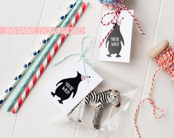 Penguin Favor Tags INSTANT DOWNLOAD | Party Animal Printable  - Instant Download of digital files