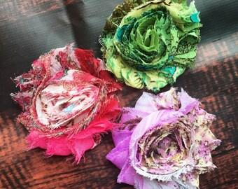 shabby chic flower hair clip set, shabby flower hair bows, flower hair clips, hair clips for girls, hair bows fore teens, hair clip set