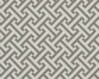 Grey and White Greek Key Geometric Indoor Outdoor Upholstery Fabric By The Yard | Pattern # A207