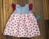 Maroon floral dress, easter floral dress, spring floral dress, flutter sleeve dress, toddler floral dress, vintage floral dress