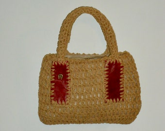 70s Aigner Hand Bag Macrame Purse Oxblood Leather Etienne Aigner Made in Italy