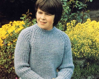 Child's Boy's Girl's Round Neck Aran Sweater Jumper Pullover - Size 66 to 81 cm (26 to 32 inch) - Sunbeam 682 Vintage Retro Knitting Pattern