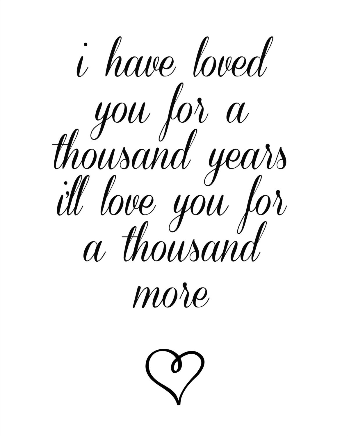Lovely Music Quotes: A Thousand Years Lyrics Printable Wedding Song Wedding