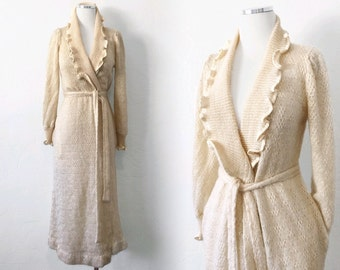Vtg 70s CHRISTIAN DIOR lingerie wrap SWEATER robe - ivory pointelle knit - sz xs s