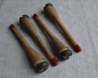 4 rustic antique wooden quill bobbin spools