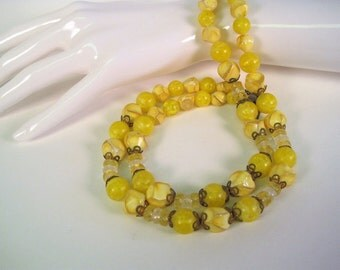 Golden Lemon Beaded Choker / Vintage Yellow Double Strand Lucite Necklace