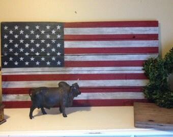 Rustic American Flag, rustic decor, salvaged wood flag, distressed flag, patriotic home decor, rustic wood sign, USA flag, wall flag decor