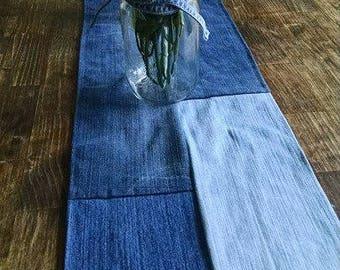 Denim Table Runner, Jean Wedding Decor, Repurposed Jeans, Denim Runner, Wedding Decor, Denim Wedding Decor, Country Wedding Decor