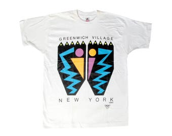Vintage Greenwich Village New York City White T-Shirt X-Large 90s NYC Deadstock