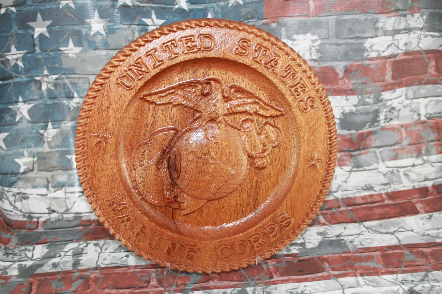 Marine corps carved wood gifts retirement usmc