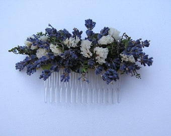 Lavender Hair Comb, Dried Hair Comb, Dried Flower Hair Accessory, Dried Floral Comb, Hair Wreath, Wedding Lavender and White Hair Comb