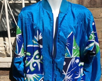 Authentic vintage blue satin bomber jacket