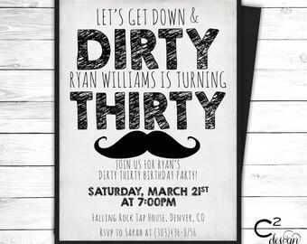 Dirty Thirty Mustache Invitation