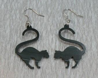 Vinyl record earrings , Vinyl record jewelry ,  recycled jewelry  earrings , Cat  earrings