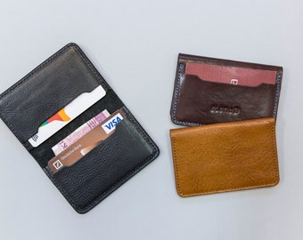 Personalization. Leather card case. Leather card holder. Leather credit card wallet. Small wallet