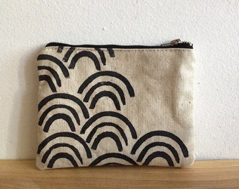 Japanese waves pouch, Canvas Pouch, Natural linen canas, Geometric, Cosmetic pouch, Carry all pouch, Coin pouch, small purse