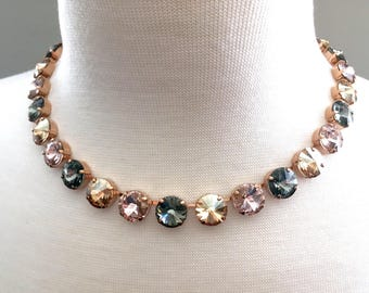 New • Iconic Nude  • Swarovski Crystal 12mm Necklace • Rose Gold • Black Diamond, Vintage Rose, and Gold