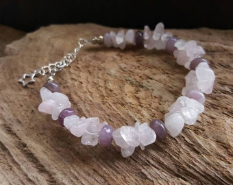Silver jewellery chain - Rose Quartz Beaded Cluster Pendant Necklace