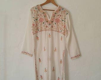 Vintage Handmade Embroidered Tunic Floral Blouse