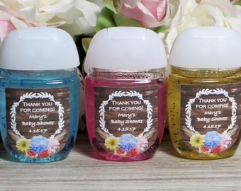 Rustic Baby Shower Favor Labels, Boho Baby Shower Hand Sanitizer Label,  Boho Bridal Shower