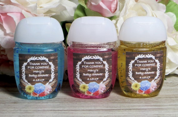 Rustic baby shower favor labels boho baby shower hand for Hand sanitizer bridal shower favors