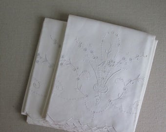 50's-60's Pillowcases cutwork and Embroidered basket of flowers Wedding Linens
