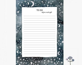 Notepad, to do before midnight, to do list, stationery, 10,3x14,8cm, constellation,moon, stars, paper pad, Notizblock, taccuino, little gift