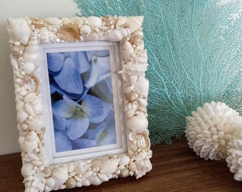 Beach Decor, Shell Frame, Seashell Frame, Beach Home Decor, Shell Photo Frame, Costal Decor, Nautical Decor, Beach Wedding Gift