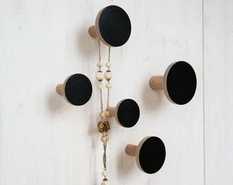 Wall hook-set / jewellery holder black