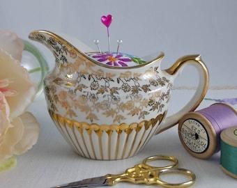 Vintage China Milk Jug Pin Cushion - pincushion, sewing organiser, sewing accessory, gift for sewer, gift for mum,