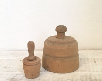 Pair Antique Butter Molds - Oak and Acorn Pattern