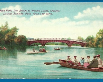 Vintage  Postcard - Boaters at the Iron Bridge in Jackson Park, Chicago, Illinois   (2380)
