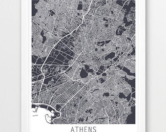 Athens City Urban Map Poster, Athens Street Map Print, Athens Greece Grey Map, Modern Wall Art, Home Decor, Travel Poster Map, Printable Art