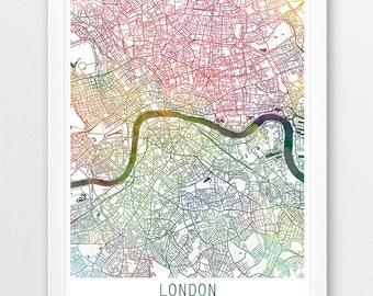 London City Urban Map Poster, London Street Print, Watercolor Map London England UK, Modern Wall Art, Home Office Decor Travel Printable Art
