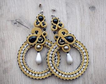 Extra long soutache earrings. Long soutache jewelry. Gold and black soutache earrings.