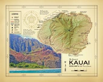 "The Island of Kauai  11 x 14 ""Vintage Inspired"" Road map"