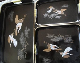 Vintage Set Of 3 Nesting Serving Trays Oriental Asian Black Lacquer, Crane Bird Design, Entertaining Serving Trays, Made In Japan