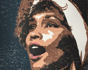 Whitney Houston/Original Linocut Print/11 x 14 inches