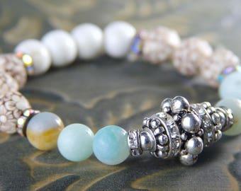 Pave & Amazonite Boho Beaded Stretch Bracelet, Jewelry Trends 2017, Diamond Bracelet, Pave Beaded Bracelet, Boho Chic