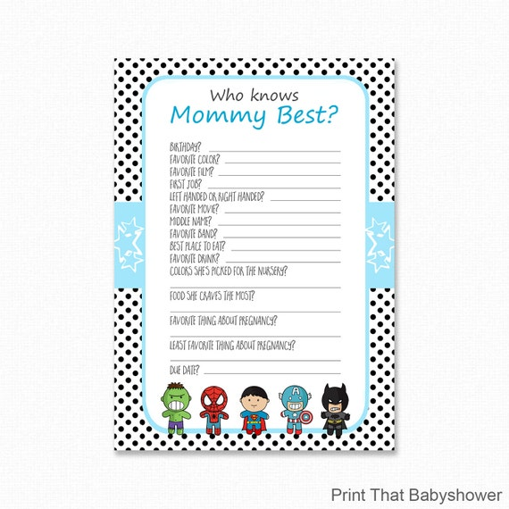 Superhero Baby Shower Who Knows Mommy Best Printable